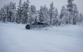 Picture snow, grey, movement, speed, Porsche, 2020, Taycan, Taycan 4S