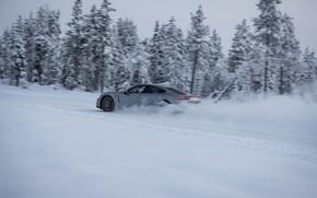 Picture snow, grey, movement, speed, Porsche, 2020, Taycan, Taycan 4S