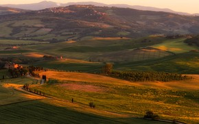 Picture field, summer, trees, sunset, mountains, nature, fog, comfort, house, hills, the slopes, field, beauty, dal, …