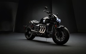 Picture triumph, motocycle, dark background, triumph rocket iii