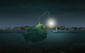 Picture photoshop, composite, angler fish
