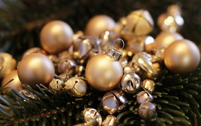 Picture winter, balls, branches, holiday, balls, Christmas, New year, bells, needles, Christmas decorations, Golden, Christmas toys