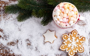 Picture snow, New Year, cookies, Christmas, Christmas, wood, snow, New Year, cocoa, cookies, decoration, Merry, fir …