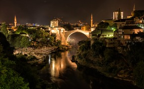 Picture night, bridge, the city, river, building, home, Bosnia and Herzegovina, Mostar, Neretva