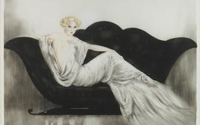 Picture 1937, black sofa, Sofa, Louis Icart