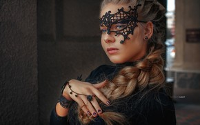 Wallpaper look, girl, face, style, hand, portrait, mask, ring, braid, manicure, Alexander Drobkov-Light, Lily Fingerless