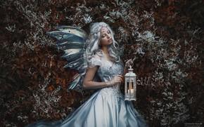 Picture girl, pose, hair, dress, lantern, Marketa Novak, Bаra Markovа