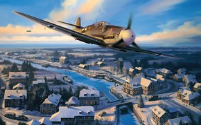 Picture art, airplane, aviation, bf-109, ww2