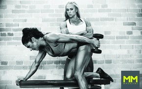 Picture workout, females, bodybuilders, hard trainning