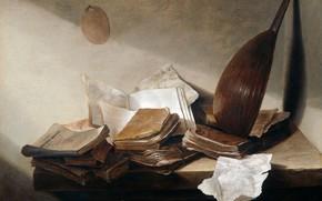 Picture oil, picture, Jan Davidsz de Heem, 1630, Jan Davidsz. de Heem, Still life with Books