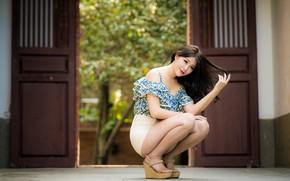 Picture girl, hair, brown hair, Asian, knees, views