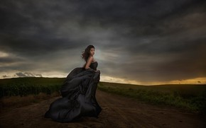 Picture girl, pose, the wind, dress, Jessica Drossin