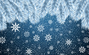 Picture Minimalism, Snow, Branches, Christmas, Snowflakes, Background, New year, Art, Christmas, Art, Mood, Tree, Snow, New …