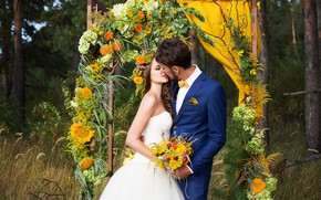 Picture photo, kiss, bouquet, dress, lovers, the bride, wedding, the groom