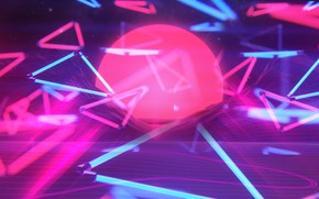 Wallpaper The sun, Music, Neon, Background, Graphics, Neon, 80's, Synth, Retrowave, Synthwave, New Retro Wave, Futuresynth, ...