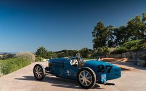 Picture Blue, Vintage, 1927, Bugatti Type 35C