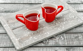 Picture red, tea, Cup, tray, Lili Graphie