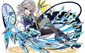 Picture girl, smile, weapons, knives, Touhou, Touhou, Touhou