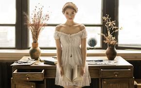 Picture look, girl, table, books, vase, Lolita, Vyacheslav Shcherbakov