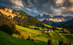 Picture landscape, mountains, clouds, nature, rainbow, valley, village, Italy, forest, meadows, The Dolomites