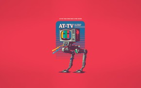 Wallpaper Minimalism, Robot, TV, Art, Robot, All Terrain television, AT-TV, In the year 2980 war is ...