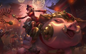 Picture girl, salute, pig, rider, League Of Legends