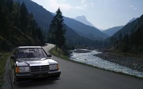 Picture Mercedes-Benz, Auto, Road, Mountains, Machine, Mercedes, River, 190E, by Mikhail Nikolaev, Mikhail Nikolaev, Mercedes-Benz 190E …