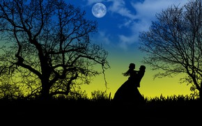 Picture love, night, the moon, romance, two, silhouettes, date