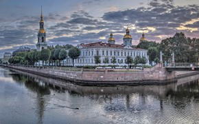 Picture dawn, building, morning, Saint Petersburg, panorama, temple, Russia, bridges, channels, The Canal, Kryukov canal, Nikolsky …