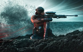 Picture wave, water, sniper, Ubisoft, special forces, sniper rifle, mercenaries, Tom Clancy's Rainbow Six Siege, Rainbow …