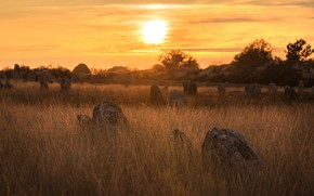 Picture field, grass, sunset, stones, boulders