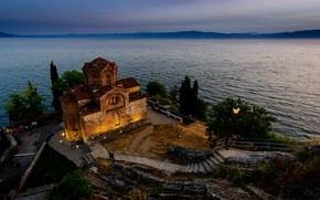 Picture landscape, nature, lake, Church, twilight, Macedonia, Ohrid