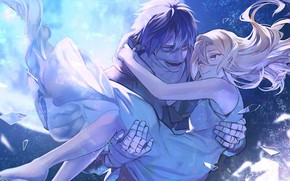 Picture girl, romance, dress, art, pair, guy, two, Angel bloodshed, Satsuriku no Tenshi