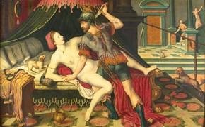 Picture oil, picture, mythology, 1575, Тарквиний и Лукреция