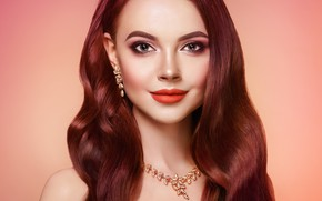 Picture girl, smile, style, background, makeup, decoration, curls, Oleg Gekman