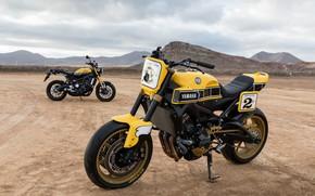 Picture sand, mountains, yellow, desert, tuning, is, Yamaha, moto, tuning, custom, Yamaha XSR900, city bike, yellow …
