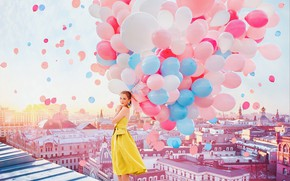 Picture girl, balls, balloons, mood, home, dress, Moscow, colorful, on the roof, Kristina Makeeva