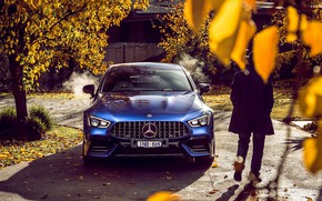 Picture auto, autumn, blue, Mercedes-Benz, male, 4MATIC, S 4