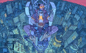 Picture Girl, The city, Robot, Height, Fantasy, Art, Art, Food, Robot, Fiction, Cyborg, Sci-Fi, Cyberpunk, Cyberpunk, …