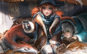 Picture fantasy, green eyes, girls, blue eyes, winter, redhead, dragon, artist, elf, digital art, artwork, fantasy …