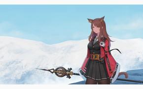 Picture girl, snow, mountains, staff, neko, ears