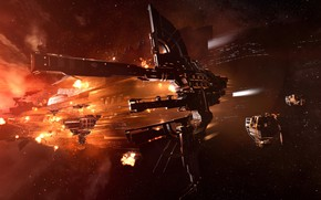Picture nebula, station, Space, space, ruins, battle, spaceship, eve online, battle, space ship, coooper