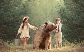 Wallpaper boy, bear, girl