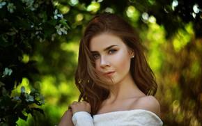 Picture look, trees, pose, Girl, hairstyle, Vladislav Opletaev
