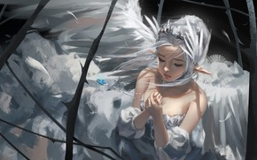 Picture girl, elf, pendant