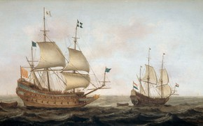 Picture oil, sailboat, picture, sail, seascape, 1635, Jacob Gerritsz Of Loaf, A warship built in 1626 …