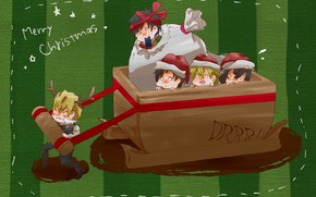 Picture Christmas, New year, guys, kids, cart, Durarara, Durarara, Of Izaya Orihara, Heiwajima Shizuo