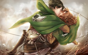 Picture kiss, anime, art, Shingeki no Kyojin, Attack of the titans, The invasion of the giants, …