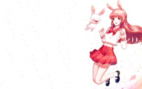 Picture girl, white background, Bunny