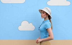 Picture the sky, clouds, pose, background, model, skirt, portrait, makeup, figure, hairstyle, brown hair, hat, blouse, …